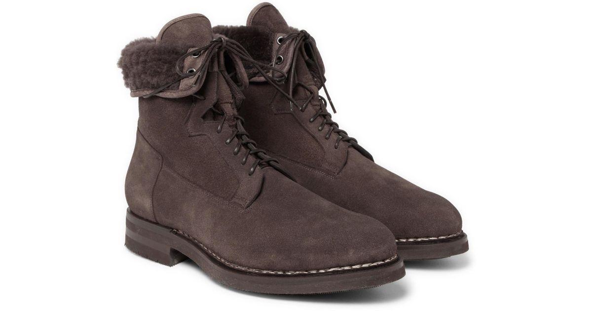 santoni Boots leather finished fur