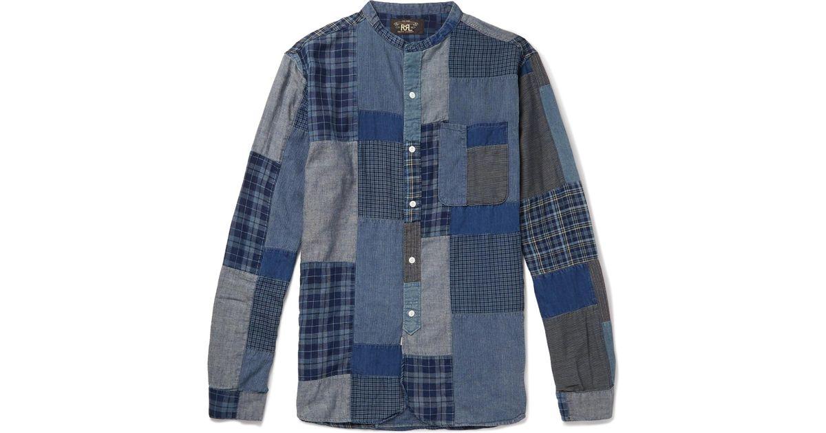 b38c9068 RRL Grandad-collar Patchwork Cotton-blend Shirt in Blue for Men - Lyst