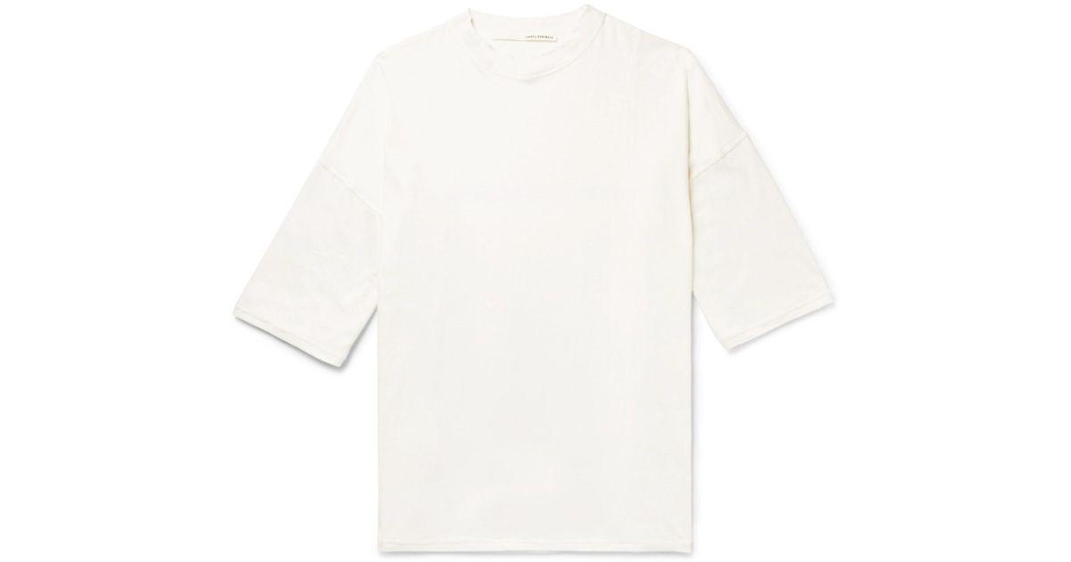 ISABEL BENENATO Cotton, Linen And Ramie-blend T-shirt - Cream
