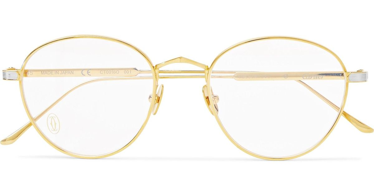 7c9d7f8681 Lyst - Cartier Signature C De Cartier Round-frame Gold And Silver-tone  Optical Glasses in Metallic for Men