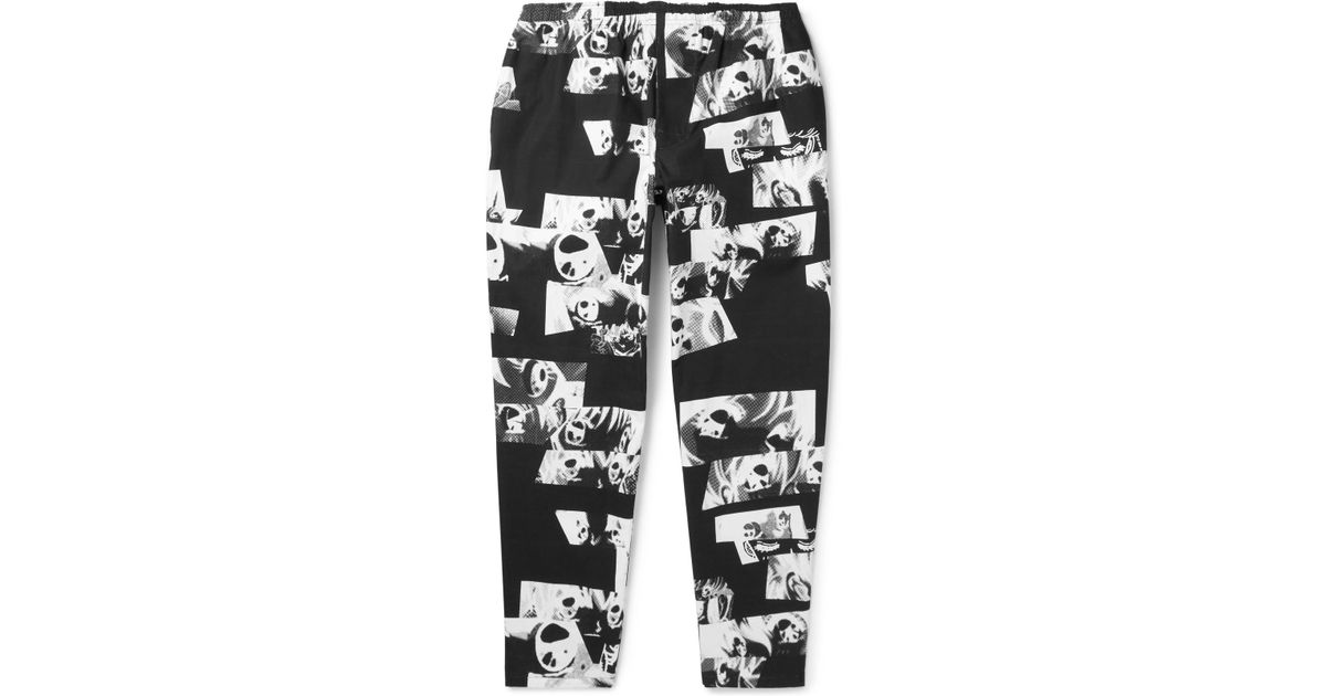 Flagstuff Printed Cotton Trousers - Black wmmAN