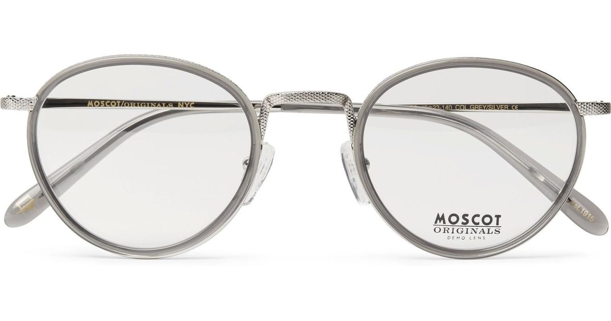 47cf1d968be Lyst Moscot Bupkes Round Frame Acetate Trimmed Silver Tone Optical