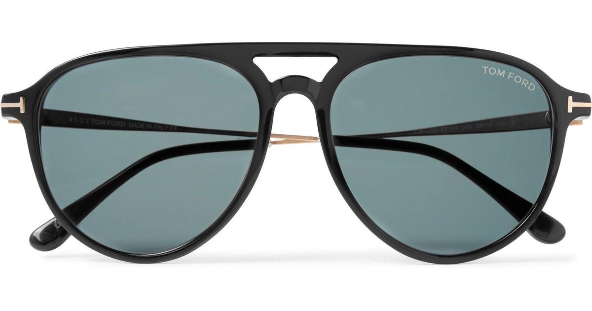 65f89bbf687e Lyst - Tom Ford Carlo Aviator-style Acetate And Gold-tone Sunglasses in  Black for Men