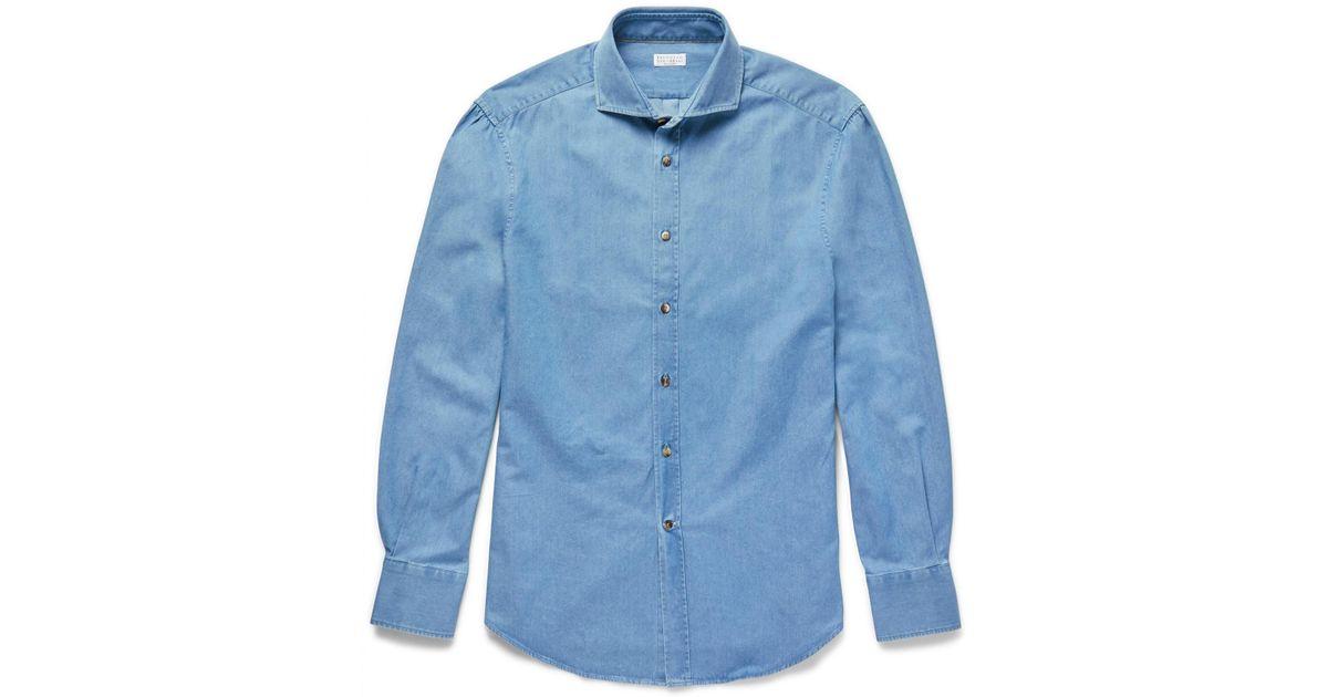 bf0830ed37 Brunello Cucinelli Slim-fit Cutaway-collar Washed-denim Shirt in Blue for  Men - Lyst