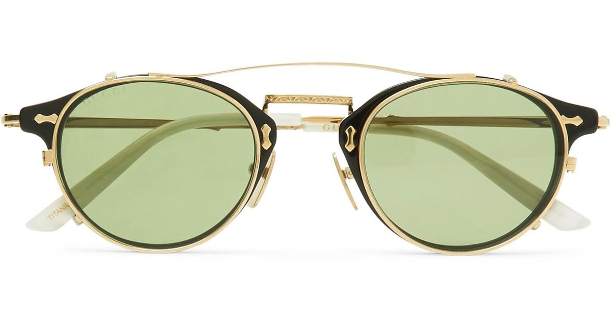 4ded537a38 Lyst - Gucci Convertible Round-frame Acetate And Metal Sunglasses in  Metallic for Men