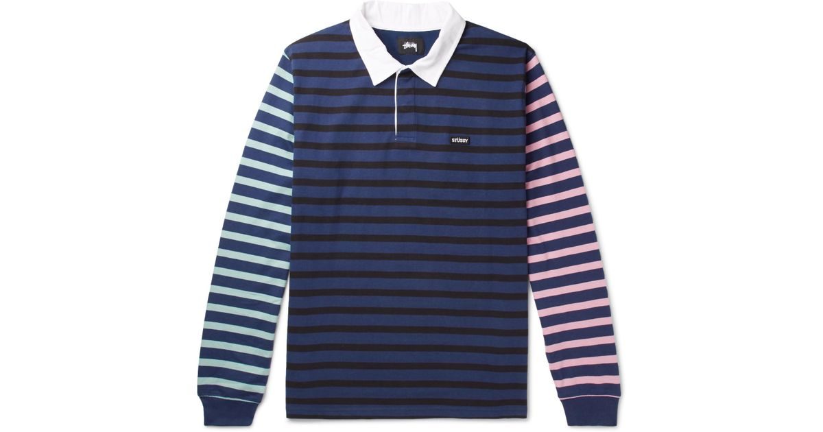 STUSSY Jonah Piqué-trimmed Striped Cotton-jersey Polo Shirt - Navy