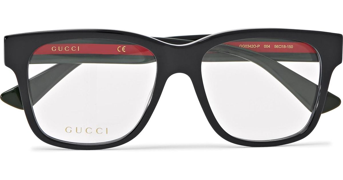 bb1335a59a2 Gucci Square-frame Striped Acetate Optical Glasses in Black for Men - Lyst