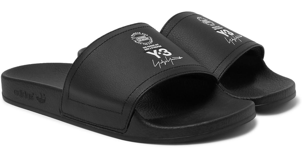 f9fdbfb4134693 Y-3 Adilette Printed Rubber Slides in Black for Men - Lyst