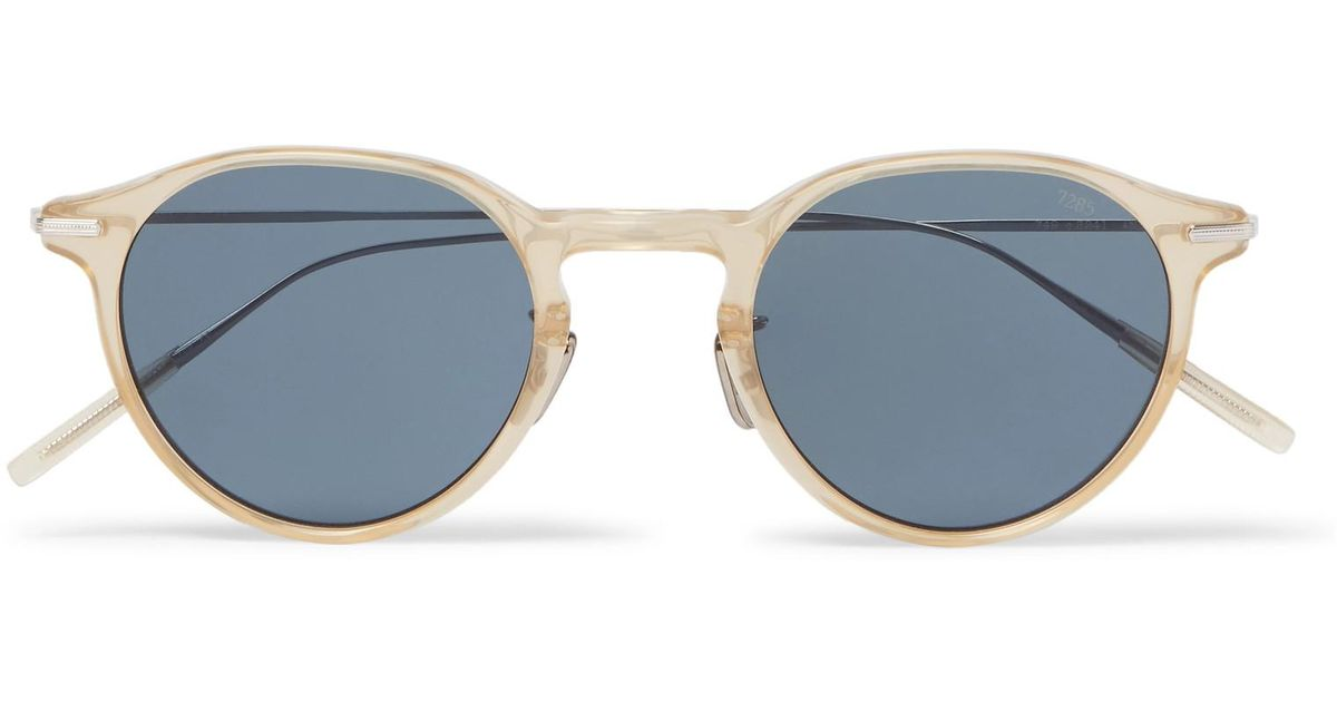 52fe508a23f Lyst - Eyevan 7285 749 Round-frame Acetate And Titanium Sunglasses in Blue  for Men