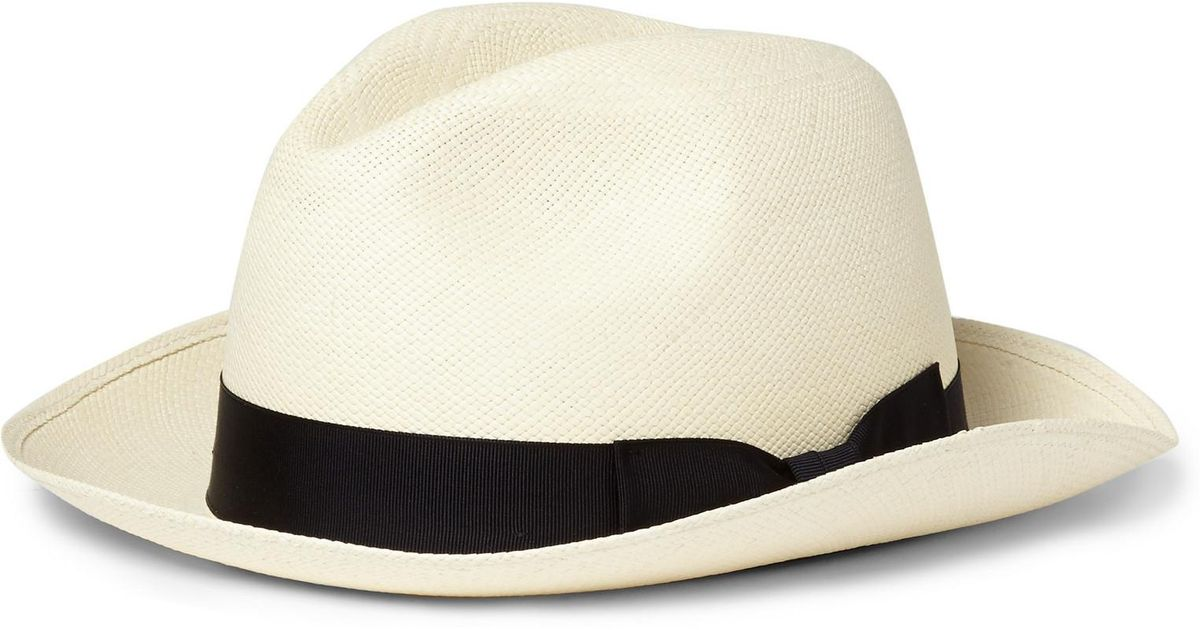 72fd5506481 Lyst - Kingsman - Lock   Co Hatters Grosgrain-trimmed Panama Hat - Navy in  Blue for Men