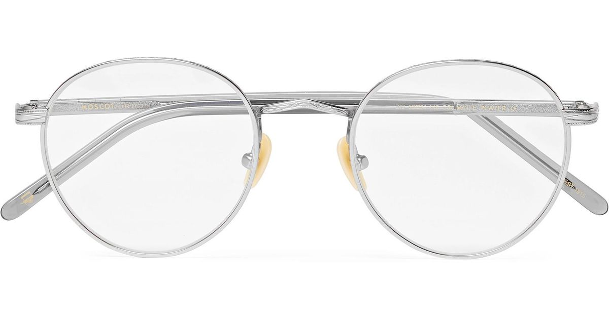 c89cb46c7814a Moscot Zis Round-frame Acetate And Silver-tone Optical Glasses in Gray for  Men - Lyst