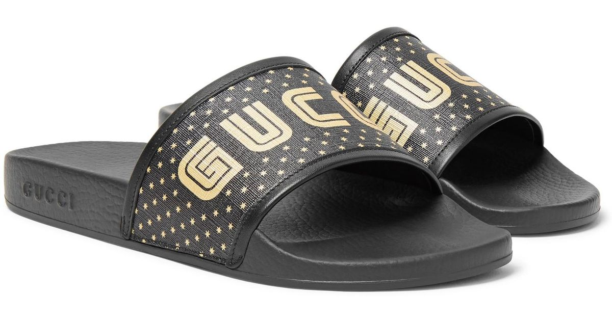 b880111393da Lyst - Gucci Leather-trimmed Logo-print Rubber Slides in Black for Men