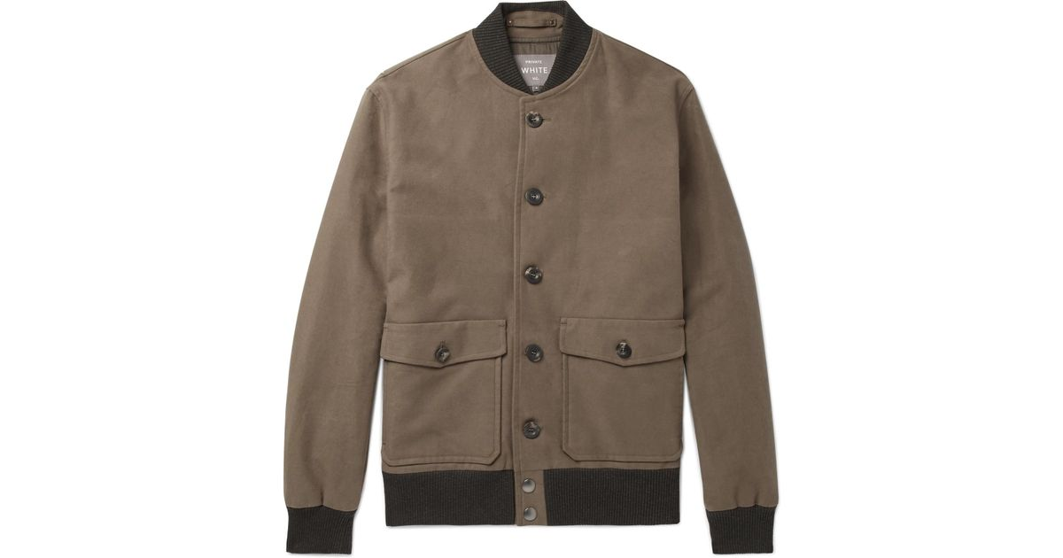White Private c Lyst Bomber Jacket Cotton In Stretch V Moleskin twpx5dq 0141b99f301