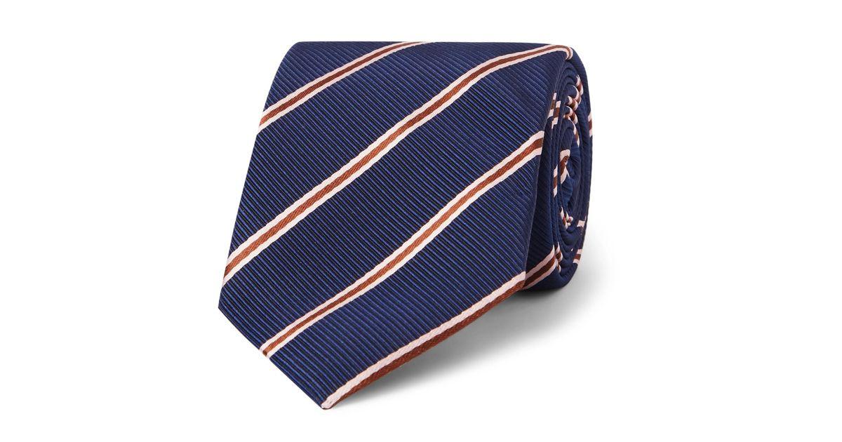 + Drakes 8.5cm Striped Silk And Cotton-blend Faille Tie Kingsman 8WFDE9Y5t