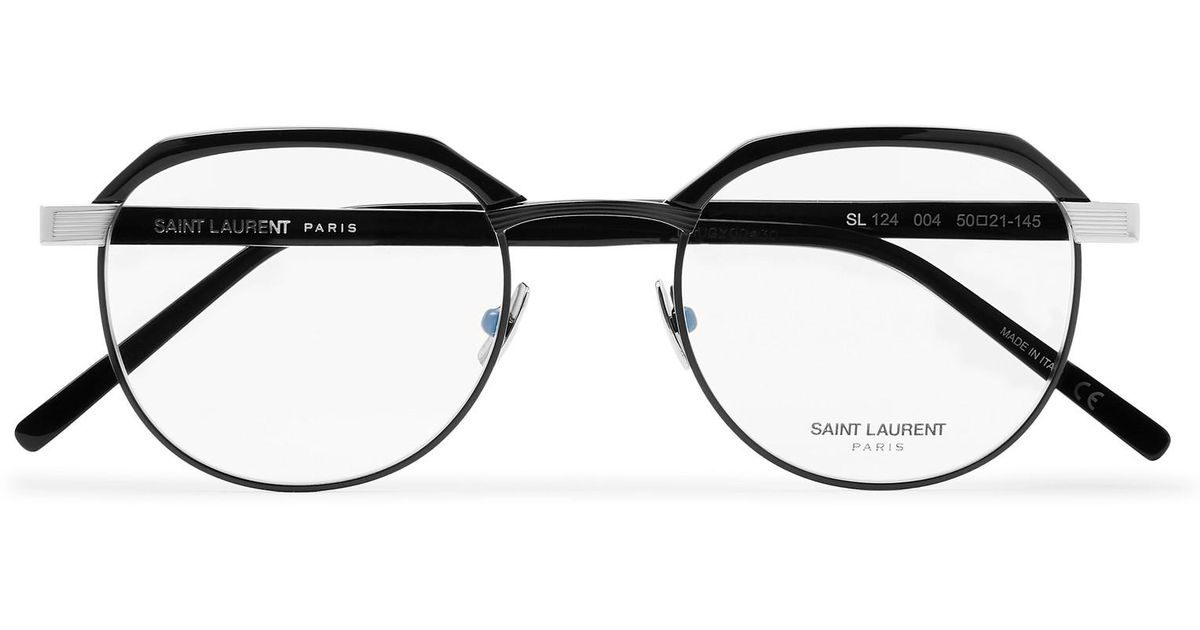 601a7452f1f7 Lyst - Saint Laurent Round-frame Acetate And Silver-tone Optical Glasses in  Black for Men