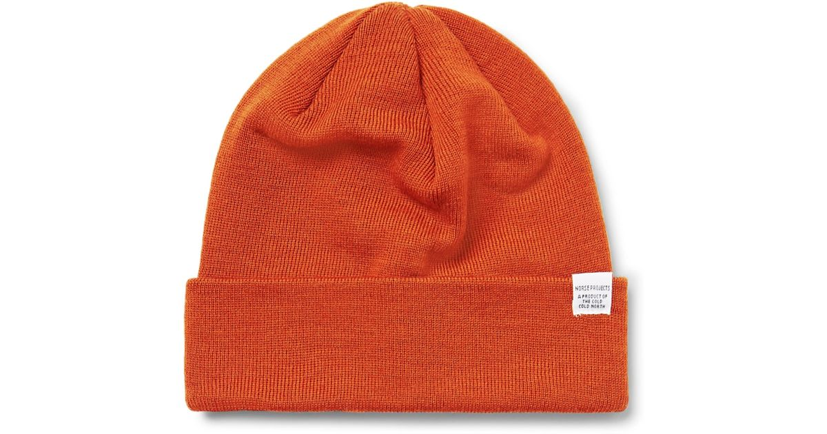 4ffb0fc09 Norse Projects - Orange Merino Wool Beanie for Men - Lyst