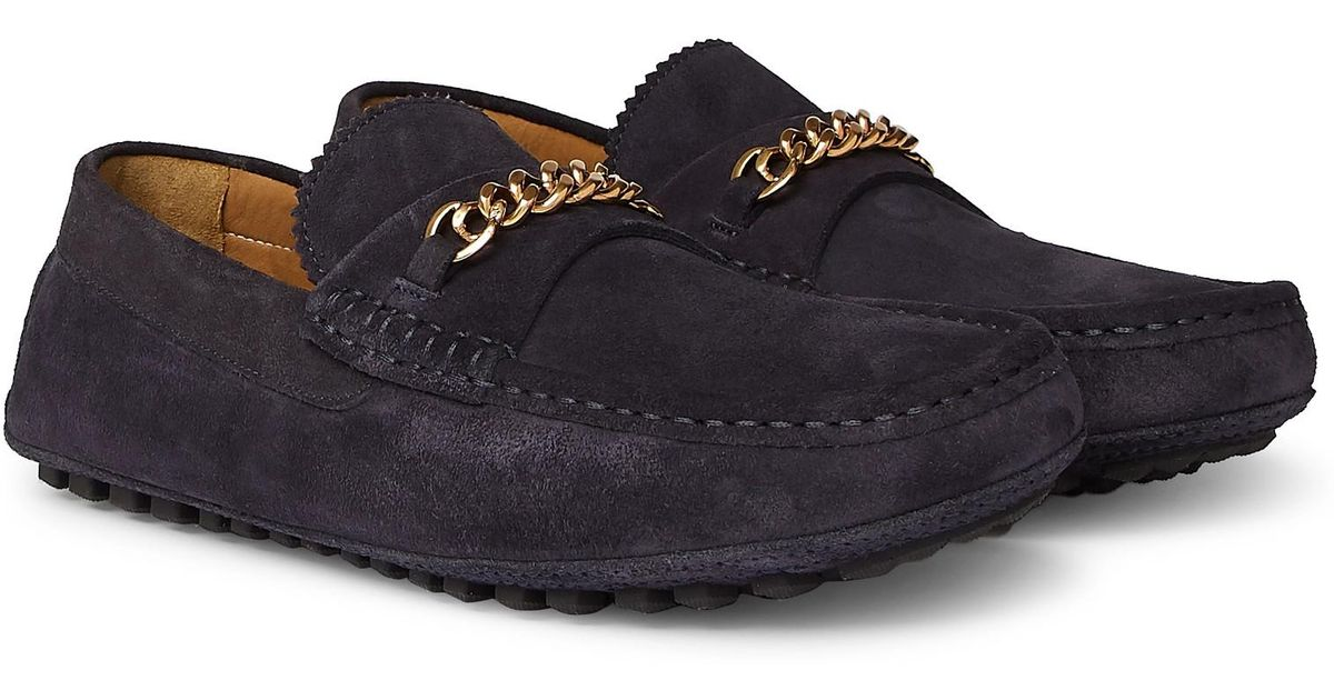 Tom Ford Blue York Chain trimmed Suede Driving Shoes for men