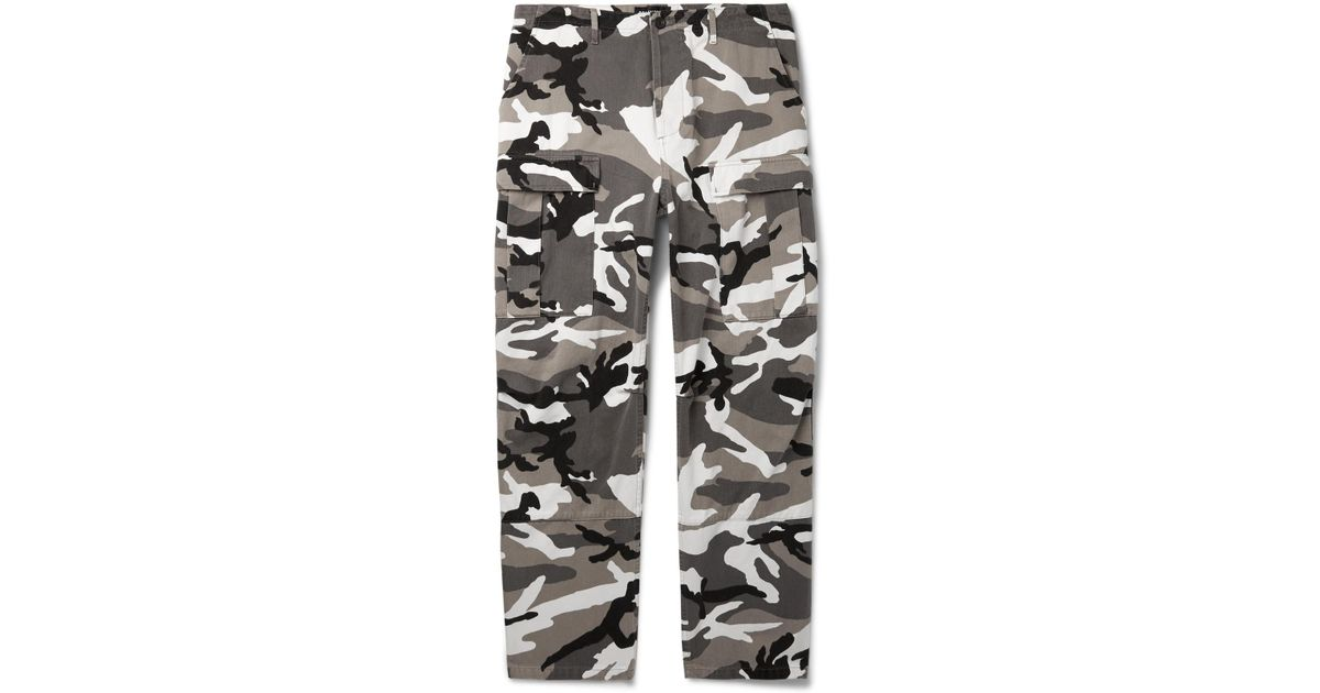 99fdaf6d4a85 Balenciaga Slim-fit Camouflage-print Cotton-twill Cargo Trousers in Gray  for Men - Lyst