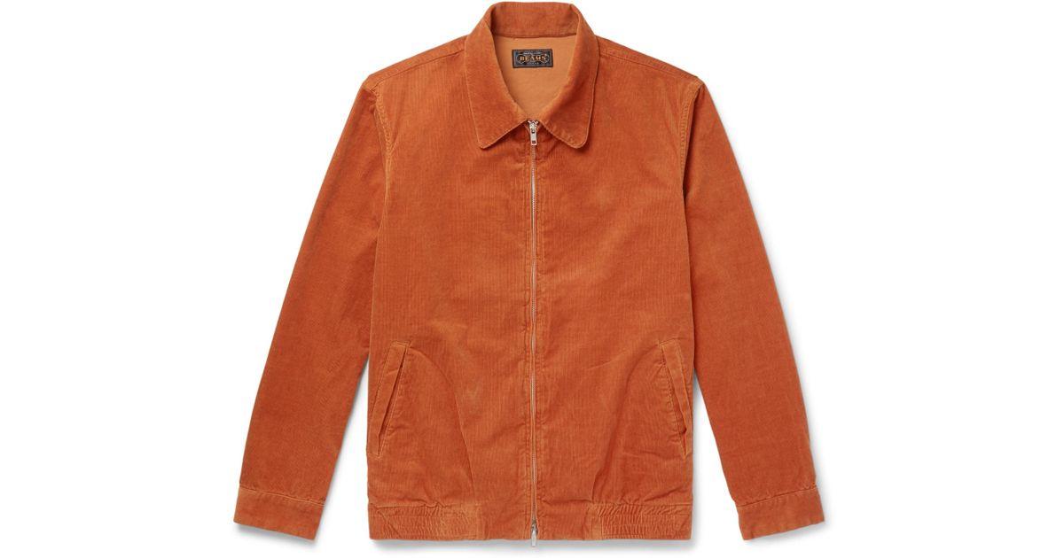 Plus Men in Jacket Blouson blend for Lyst Corduroy Beams Orange Cotton PfqvWx50