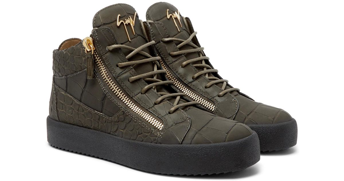 95011bf3e8d00 Giuseppe Zanotti Logoball Croc-effect Leather High-top Sneakers in Green  for Men - Lyst