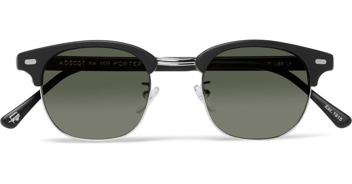 b48af01e71 Lyst - Moscot Yukel Square-frame Acetate And Silver-tone Sunglasses in  Black for Men