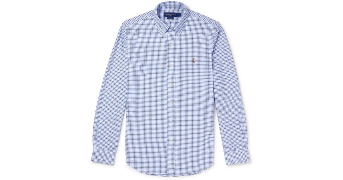 92d02f214a8aab Polo Ralph Lauren Slim-fit Button-down Collar Checked Cotton Oxford Shirt in  Blue for Men - Lyst
