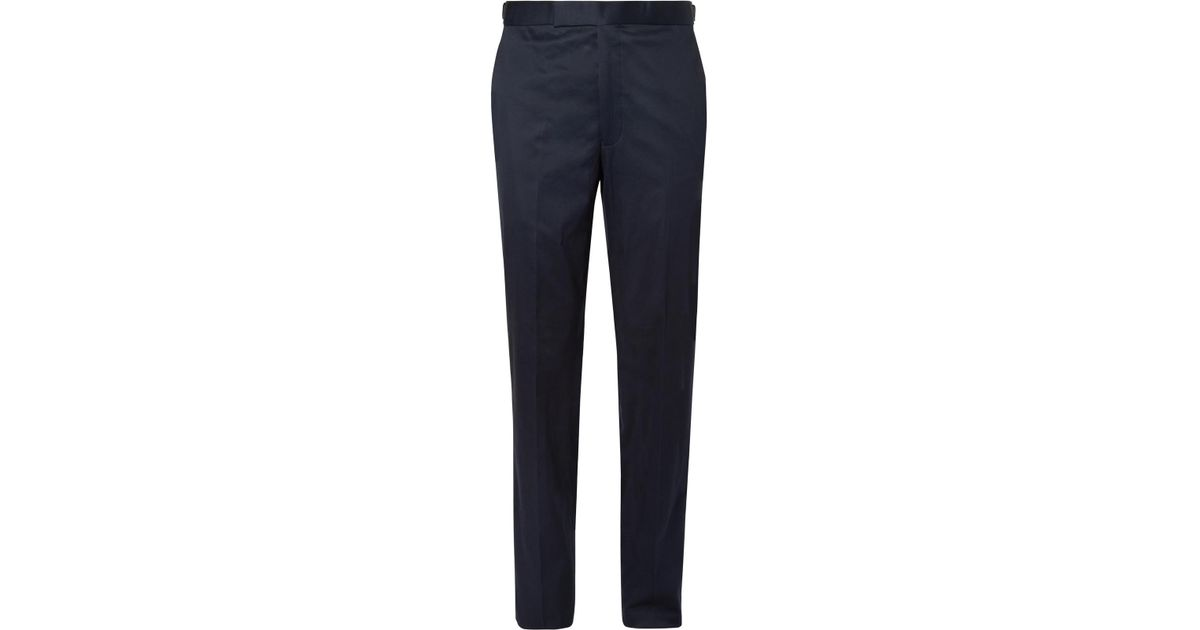 Navy Hyde Slim-fit Stretch-cotton Twill Suit Trousers Richard James reNP7H5x