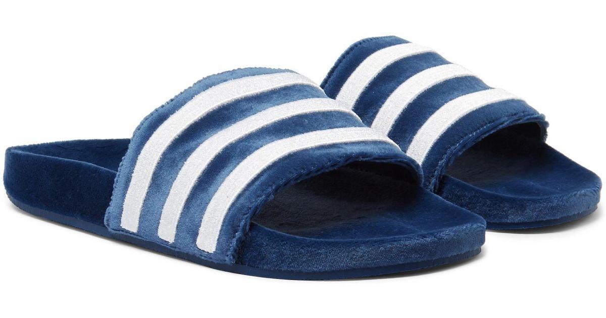 5704de02273b57 Lyst - adidas Originals Adilette Striped Velvet Slides in Blue for Men
