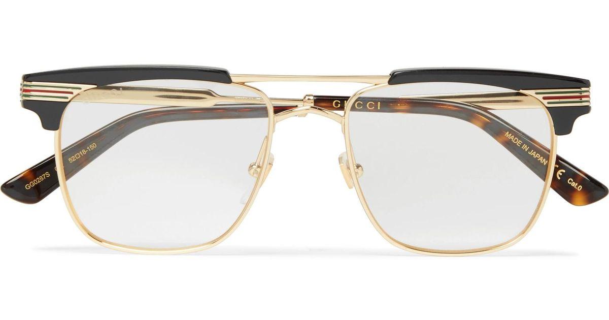 990b98b4938 Gucci Endura Square Frame Gold Tone And Acetate Optical Gles In