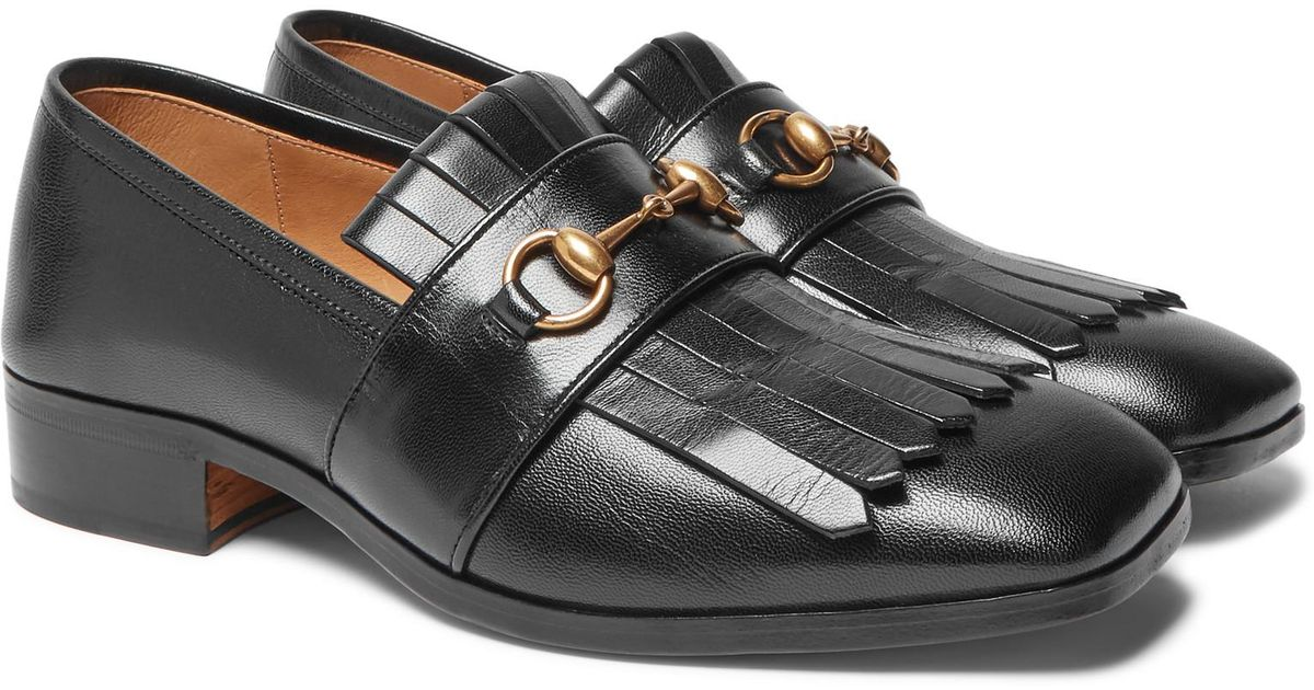 8181eed65 Gucci Gran Duca Horsebit Fringed Grained-leather Loafers in Black for Men -  Lyst