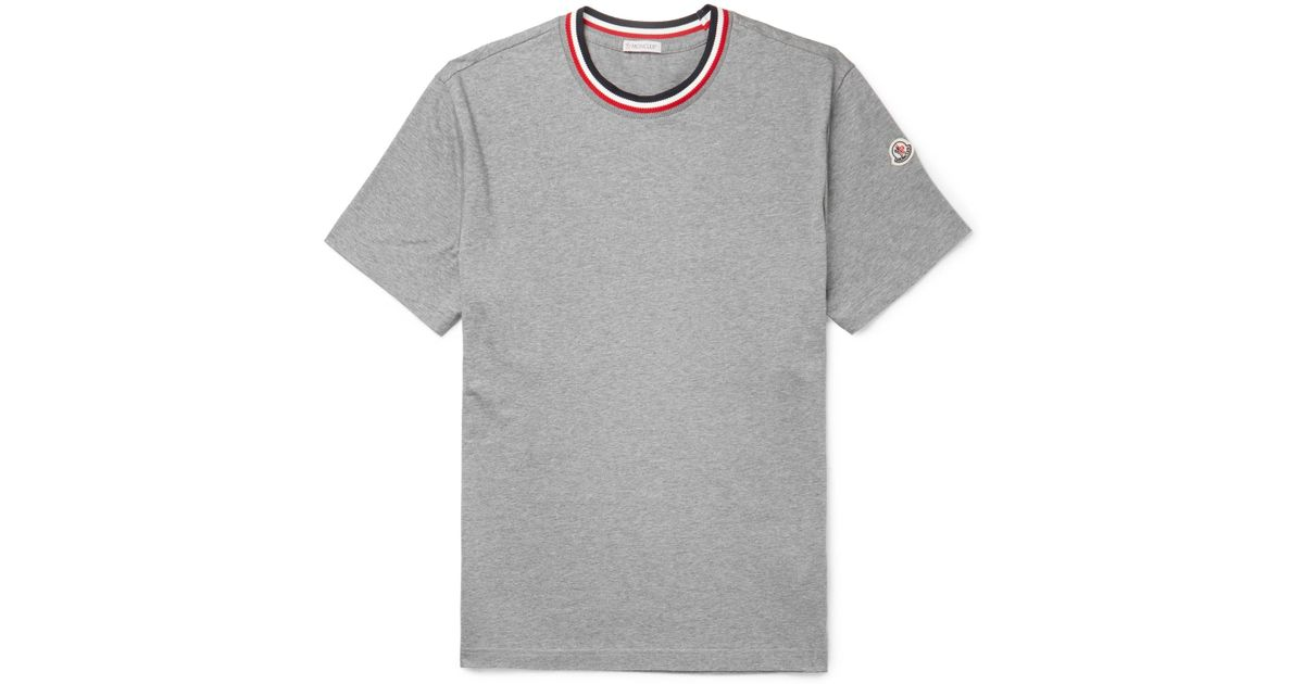 d14f3581c Lyst - Moncler Webbing-trimmed Mélange Cotton-jersey T-shirt in Gray ...