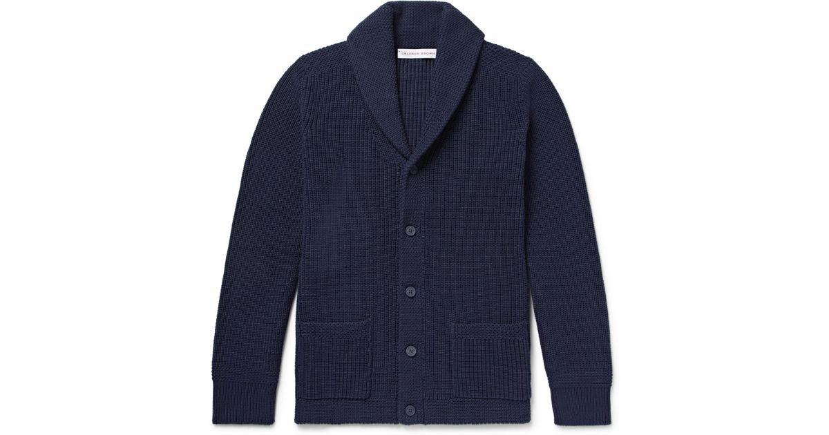 en hombre cuello en Rebeca marrón algodón para de Orlebar Lowe de chal acanalado azul Lyst con 0q6P4qU