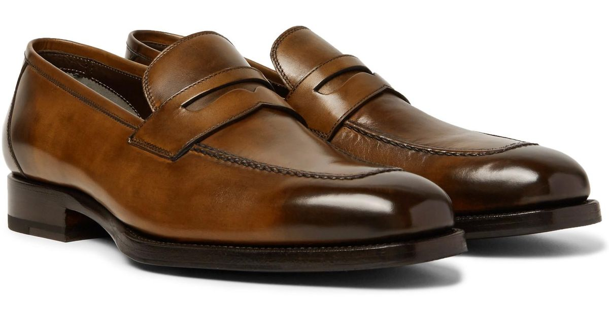 a3fb1da8421 Tom Ford Wessex Burnished-leather Penny Loafers in Brown for Men - Lyst