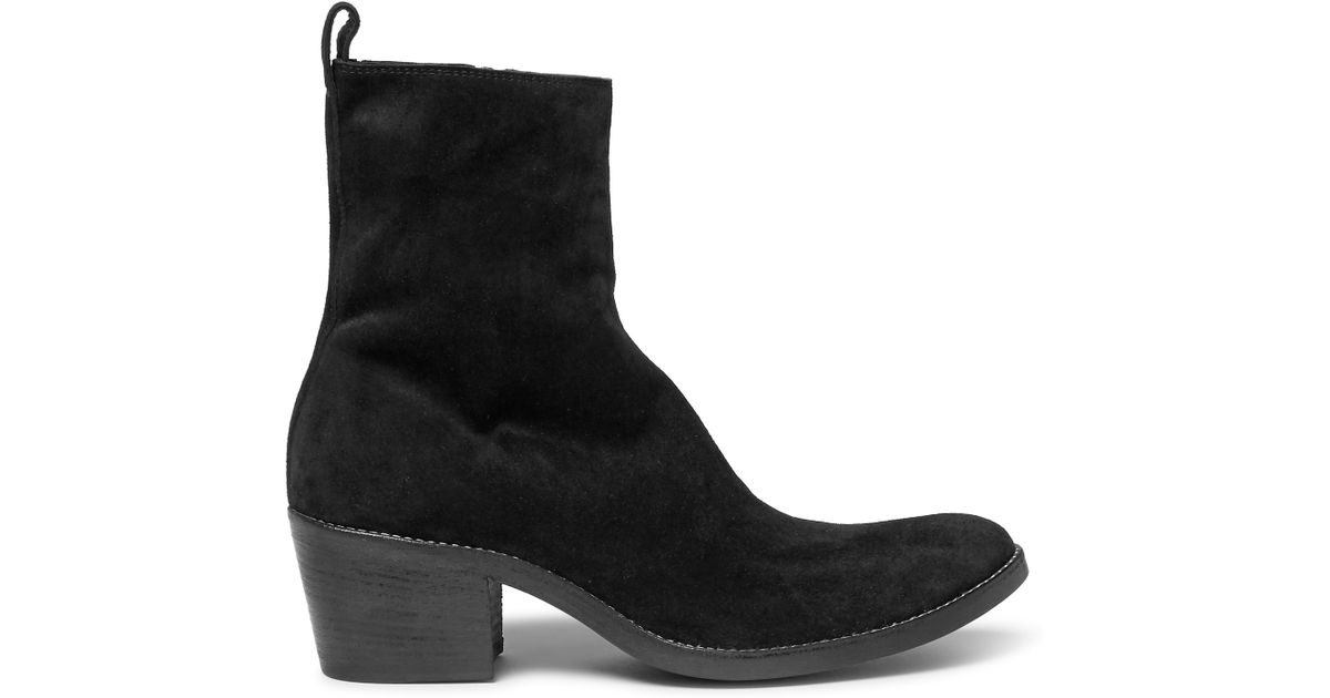 haider ackermann cuban heel suede boots in black for