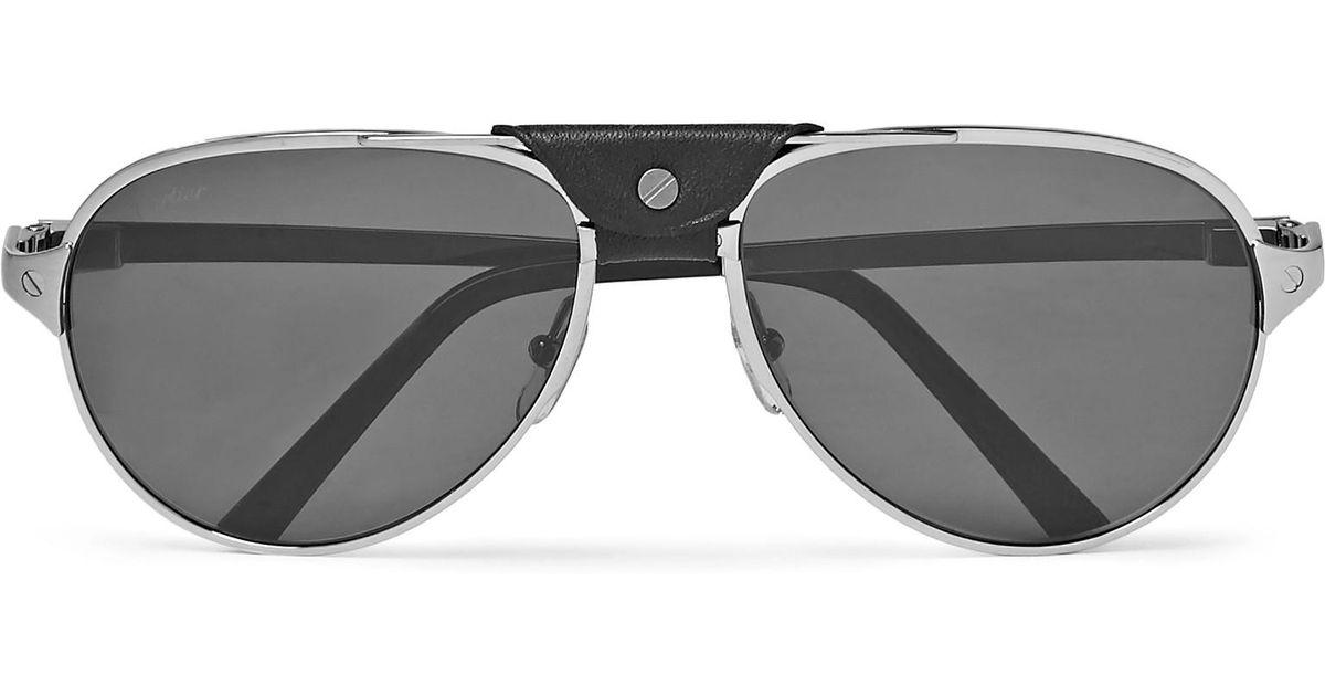 1e8d3e7231 Lyst - Cartier Santos De Cartier Aviator-style Leather-trimmed Silver-tone  Sunglasses in Metallic for Men