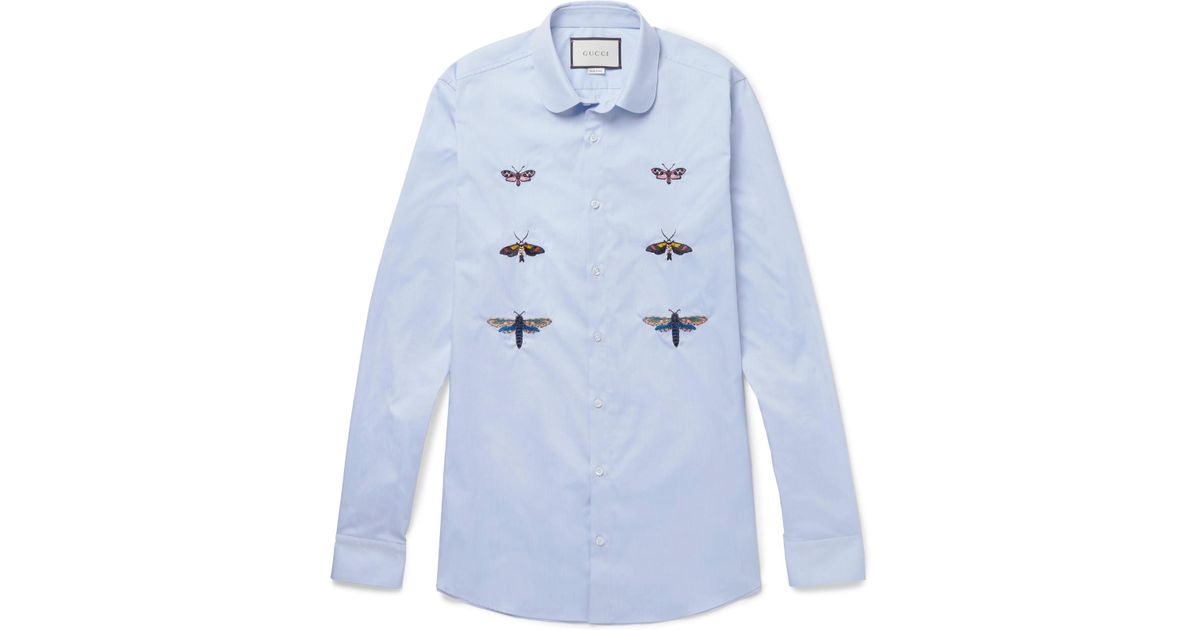 b6bfeceb5 Gucci Duke Slim-fit Penny-collar Embroidered Cotton Shirt in Blue for Men -  Lyst