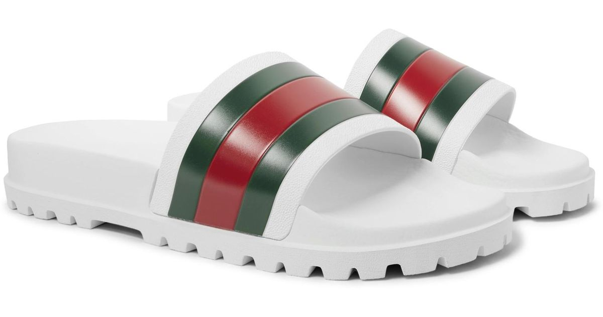 8cbfa54a7 Gucci White Striped Pursuit Trek Slides in White for Men - Save 22% - Lyst