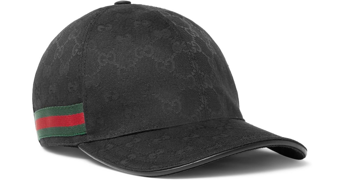 fa2963a3 Lyst Gucci Monogrammed Canvas Baseball Cap Black In For Men