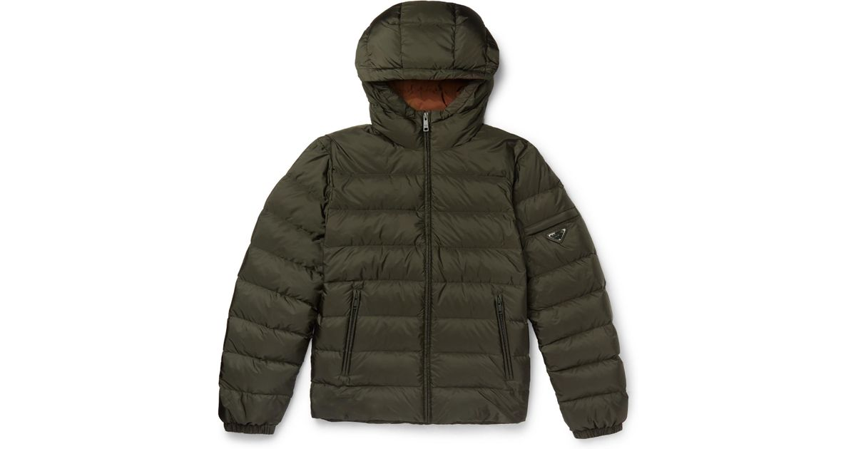 d6f52fa9bb Prada - Green Quilted Shell Hooded Down Jacket for Men - Lyst