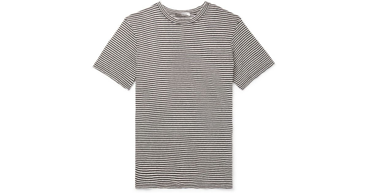 0ebb9557 Lyst - Isabel Marant Leon Striped Slub Linen And Cotton-blend T-shirt in  Gray for Men