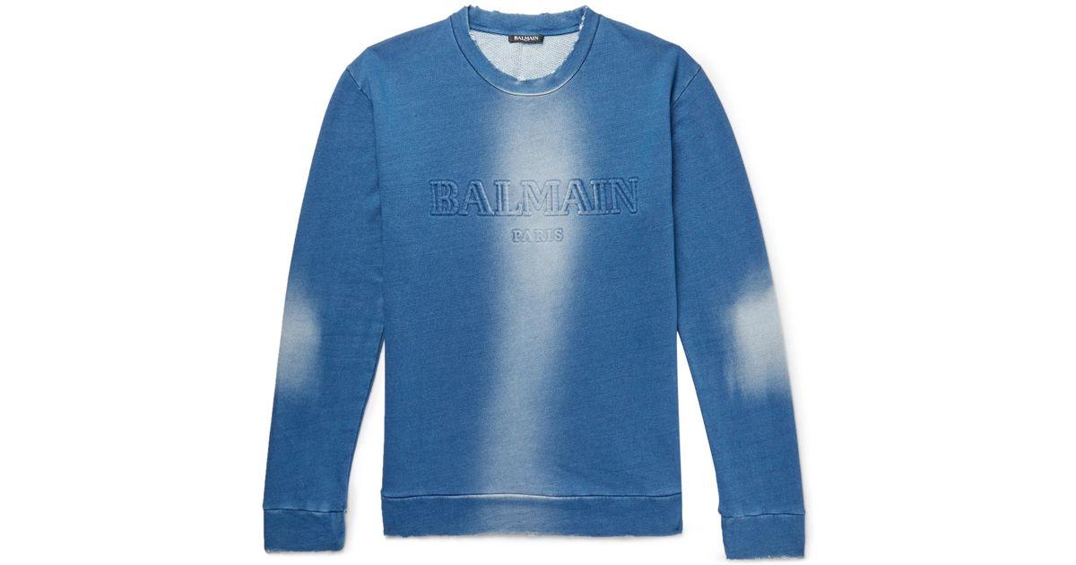 6c566618 Balmain Slim-fit Distressed Logo-embossed Loopback Cotton-jersey Sweatshirt  in Blue for Men - Lyst