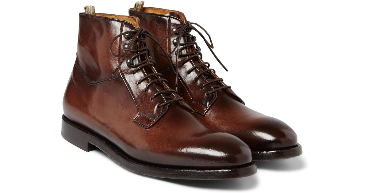 Officine Creative Anatomia Burnished-Leather Derby Boots best place clearance Inexpensive with paypal for sale discount best sale cheap manchester great sale zUdrNK