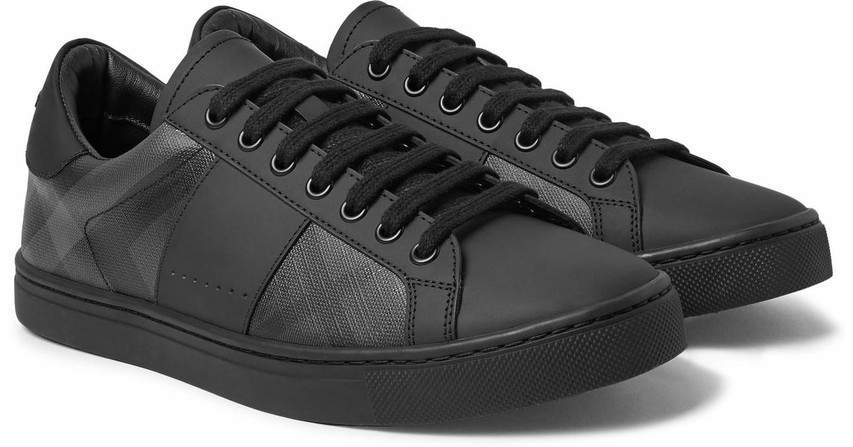 Rubberised-leather And Checked Pvc Sneakers Burberry vbo1ugKd8p
