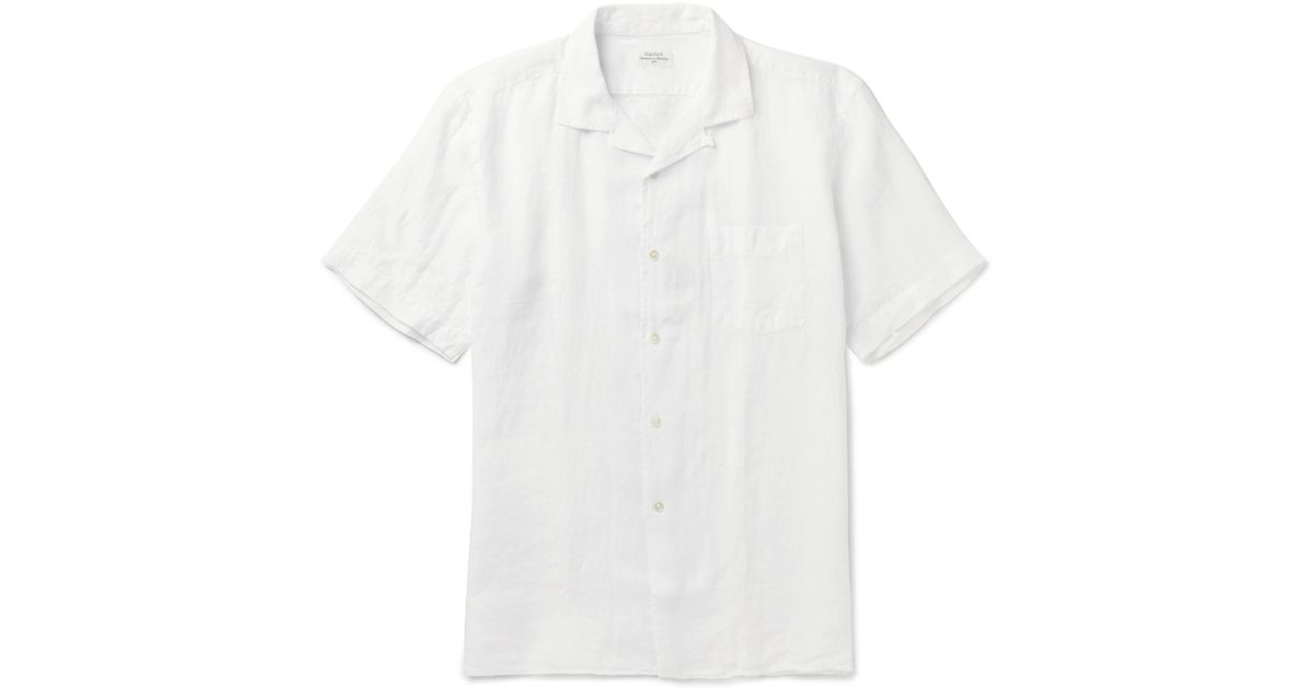 HARTFORD Camp-collar Linen Shirt - White imOk9HuJql