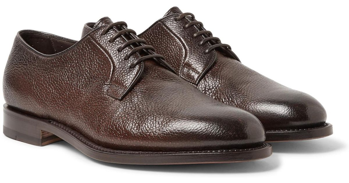 Pebble-grain Leather Derby Shoes Santoni