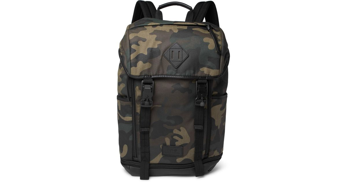 1ffb3a0611f Lyst - Polo Ralph Lauren Camouflage-print Leather-trimmed Cotton-canvas  Backpack in Green for Men