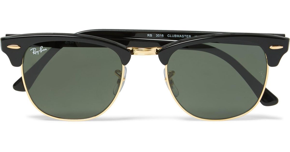 3667b92926a Lyst - Ray-Ban Clubmaster Square-frame Acetate And Gold-tone Sunglasses in  Black for Men