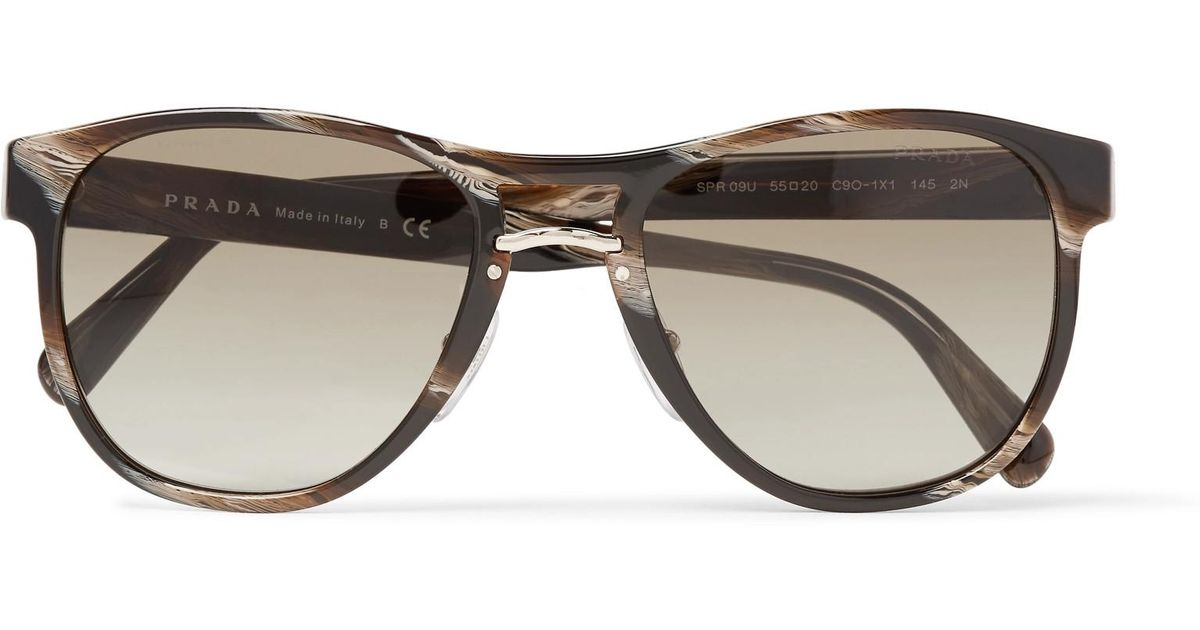 Lyst - Prada D-frame Acetate And Gold-tone Sunglasses in Brown for Men
