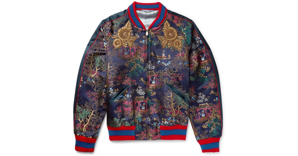 040fb27b3 Lyst - Gucci Embroidered Jacquard Bomber Jacket in Blue for Men
