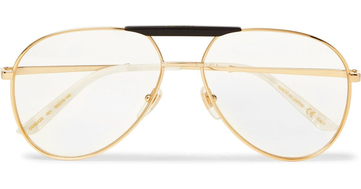 144546b6c1e3 Gucci Endura Aviator-style Acetate And Gold-tone Optical Glasses in  Metallic for Men - Lyst